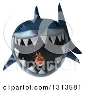 Clipart Of A 3d Shark About To Eat A Fat Fish Royalty Free Illustration by Julos