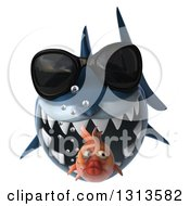 Clipart Of A 3d Shark Wearing Sunglasses About To Eat A Fat Fish Royalty Free Illustration by Julos