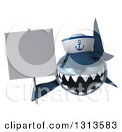Clipart Of A 3d Shark Sailor Holding A Blank Sign Royalty Free Illustration