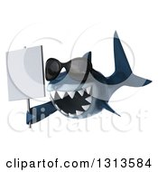 Clipart Of A 3d Shark Wearing Sunglasses Facing Slightly Left And Holding A Sign Royalty Free Illustration