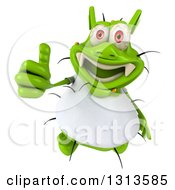 Clipart Of A 3d Green Germ Virus Wearing A White T Shirt Holding Up A Thumb Royalty Free Illustration by Julos