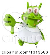 Clipart Of A 3d Green Germ Virus Wearing A White T Shirt Holding Up A Thumb Down Royalty Free Illustration