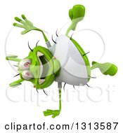 Clipart Of A 3d Green Germ Virus Wearing A White T Shirt Cartwheeling Royalty Free Illustration
