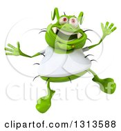 Clipart Of A 3d Green Germ Virus Wearing A White T Shirt Jumping Royalty Free Illustration