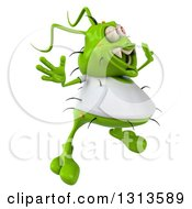 Clipart Of A 3d Green Germ Virus Wearing A White T Shirt Facing Right And Jumping Royalty Free Illustration