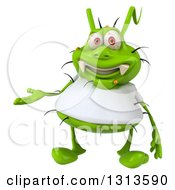 Clipart Of A 3d Green Germ Virus Wearing A White T Shirt Presenting Royalty Free Illustration