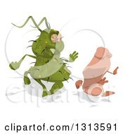 Clipart Of A Cartoon Green Germ Virus Chasing A Foot Royalty Free Illustration