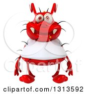 Clipart Of A 3d Red Germ Virus Wearing A White T Shirt Royalty Free Illustration by Julos