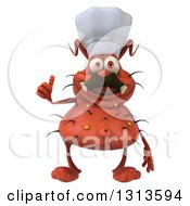 Clipart Of A 3d Red Chef Germ Virus With A Mustache Giving A Thumb Up Royalty Free Illustration
