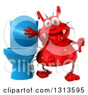 Clipart Of A 3d Red Germ Virus Giving A Thumb Down By A Blue Toilet Royalty Free Illustration by Julos