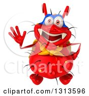 Clipart Of A 3d Red Germ Virus Super Hero Looking Up And Waving Royalty Free Illustration