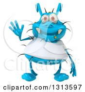 Clipart Of A 3d Blue Germ Virus Wearing A White T Shirt Waving Royalty Free Illustration