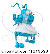 Clipart Of A 3d Blue Germ Virus Wearing A White T Shirt Facing Right And Waving Royalty Free Illustration
