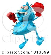 Clipart Of A 3d Blue Germ Virus Facing Slightly Left Wearing Boxing Gloves And Jumping 2 Royalty Free Illustration