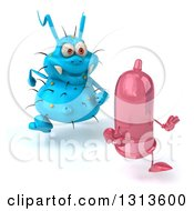 Clipart Of A 3d Blue Germ Chasing A Pink Condom Slightly To The Right Royalty Free Illustration