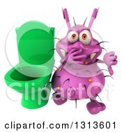 Clipart Of A 3d Purple Germ Virus Giving A Thumb Down By A Green Toilet Royalty Free Illustration