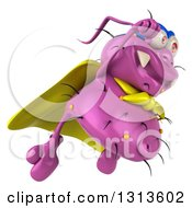 Clipart Of A 3d Purple Germ Virus Super Hero Flying To The Right Royalty Free Illustration