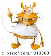 Clipart Of A 3d Yellow Germ Wearing A White Tee Shirt Holding Up A Finger Royalty Free Illustration