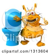 Clipart Of A 3d Yellow Germ Virus Holding A Thumb Up By A Toilet Royalty Free Illustration