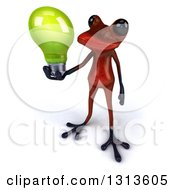 Clipart Of A 3d Red Springer Frog Holding Up A Green Light Bulb Royalty Free Illustration