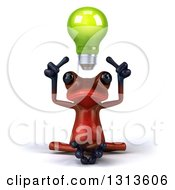 Clipart Of A 3d Red Springer Frog Meditating With A Green Light Bulb Floating Over His Head Royalty Free Illustration