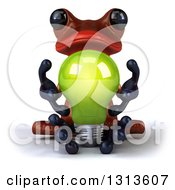 Clipart Of A 3d Red Springer Frog Meditating And Holding A Green Light Bulb Royalty Free Illustration