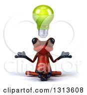 Clipart Of A 3d Red Springer Frog Meditating With A Green Light Bulb Floating Over His Head 2 Royalty Free Illustration