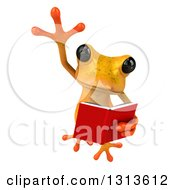 Clipart Of A 3d Yellow Springer Frog Leaping And Reading A Book Royalty Free Illustration