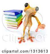 Clipart Of A 3d Yellow Springer Frog Holding Up A Thumb Down And A Stack Of Books Royalty Free Illustration