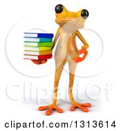Clipart Of A 3d Yellow Springer Holding And Presenting A Stack Of Books Royalty Free Illustration
