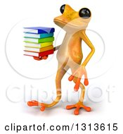 Clipart Of A 3d Yellow Springer Frog Walking To The Left And Holding A Stack Of Books Royalty Free Illustration