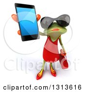 Clipart Of A 3d Green Female Springer Frog Wearing Sunglasses And Holding Up A Smart Cell Phone Royalty Free Illustration by Julos