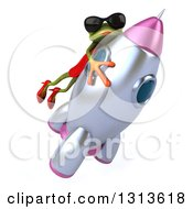 Clipart Of A 3d Green Female Frog Wearing Sunglasses And Riding A Rocket 2 Royalty Free Illustration by Julos
