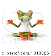 Clipart Of A 3d Green Springer Frog Wearing A White T Shirt And Meditating Royalty Free Illustration