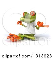 Clipart Of A 3d Green Springer Frog Wearing A White T Shirt Facing Slightly Left And Meditating Royalty Free Illustration