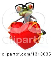 Clipart Of A 3d Bespectacled Green Doctor Springer Frog Hugging A Big Red Heart Royalty Free Illustration