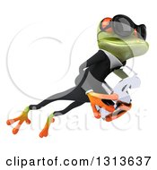 Clipart Of A 3d Green Business Springer Frog Wearing Sunglasses Leaping To The Right And Holding A Dollar Symbol 2 Royalty Free Illustration