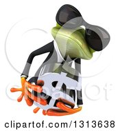 Clipart Of A 3d Green Business Springer Frog Wearing Sunglasses Leaping And Holding A Dollar Symbol Royalty Free Illustration
