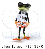 Clipart Of A 3d Green Business Springer Frog Wearing Sunglasses Walking And Holding A Dollar Symbol Royalty Free Illustration