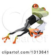 Clipart Of A 3d Green Business Springer Frog Leaping To The Right And Holding A House Royalty Free Illustration