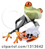 Clipart Of A 3d Green Business Springer Frog Leaping Slightly To The Right And Holding A House Royalty Free Illustration