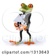 Clipart Of A 3d Green Business Springer Frog Walking Slightly To The Left And Holding A House Royalty Free Illustration