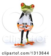 Clipart Of A 3d Green Business Springer Frog Walking And Holding A House Royalty Free Illustration