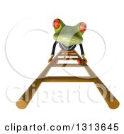 Clipart Of A 3d Green Business Springer Frog Looking Up And Climbing A Ladder Royalty Free Illustration