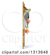 Clipart Of A 3d Green Business Springer Frog Hanging From A Ladder Royalty Free Illustration