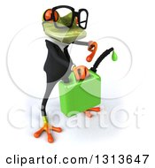 Clipart Of A 3d Bespectacled Green Business Springer Frog Facing Right Holding And Pointing To A Can Of Dripping Biofuel Royalty Free Illustration