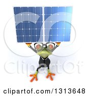 Clipart Of A 3d Bespectacled Green Business Springer Frog Holding Up A Solar Panel Royalty Free Illustration by Julos