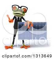 Clipart Of A 3d Bespectacled Green Business Springer Frog Giving A Thumb Up And Holding A Solar Panel Royalty Free Illustration by Julos