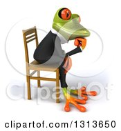 Clipart Of A 3d Green Business Springer Frog Facing Right Sitting And Thinking In A Chair Royalty Free Illustration