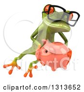 Clipart Of A 3d Bespectacled Green Springer Frog Leaping Slightly To The Right And Holding A Piggy Bank Royalty Free Illustration
